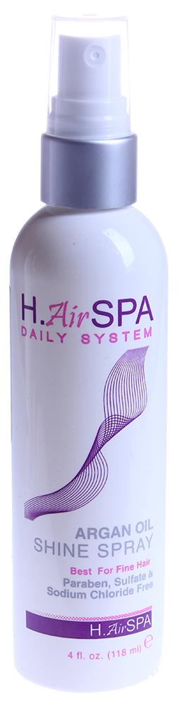 H AIRSPA Спрей на масле арганы для блеска / Argan Oil Shine Spray 118млСпреи<br>Спрей для придания блеска и сияния волосам. Специально создан для тонких волос. Волосы приобретают здоровый, ухоженный вид и блеск. Используется как средство для ухода перед укладкой или как финишное средство на готовую прическу. Не утяжеляет даже самые тонкие волосы. Способ применения: распылите немного на влажные волосы и укладывайте как обычно. Распылите на сухие волосы для дополнительного блеска. Нанесите на тело для увлажнения.<br><br>Назначение: Секущиеся кончики