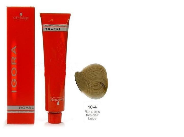 SCHWARZKOPF PROFESSIONAL 10-4 краска для волос / Игора Роял 60млКраски<br>IGORA Royal Colorist`s Color Creme - уникальный комплекс, состоящий из высокоэффективных микрочастиц, которые легко проникают внутрь волоса и отлично закрепляются по принципу магнита, формируя окончательный цветовой пигмент во время процесса окисления. Результат - отличное покрытие седины и интенсивный насыщенный цвет на длительное время. Ухаживающие протеины масла дерева Moringa Oleifera, содержащиеся в крем краске, укрепляют структуру волоса, защищают волосы от загрязнений окружающей среды и UV-излучения. Свежий косметический аромат, роскошная палитра нюансов, а также легкость в применении - все это позволяет достигать результатов самого высокого уровня.<br><br>Цвет: Блонд<br>Объем: 60<br>Класс косметики: Косметическая