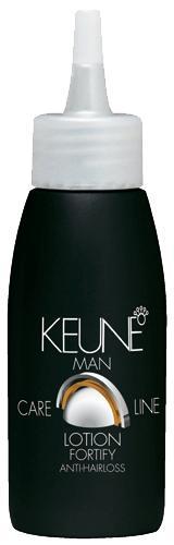 KEUNE Лосьон укрепляющий Кэе Лайн Мен / CL FORTIFY LOTION 75млВолосы<br>Keune Men Fortify - стимулирующий лосьон для кожи головы с охлаждающим эффектом, который лечит преждевременное облысение при регулярном использовании. Этот Лосьон стимулирует рост здоровых волос. Активный состав: Красный женьшень, витамин Н, ментол, необходимые минералы и горный хрусталь. Применение: После использования Шампуня Fortify MEN высушить волосы полотенцем и применить лосьон на кожу головы. Сделать массаж кончиками пальцев. НЕ СМЫВАТЬ.<br><br>Объем: 75<br>Пол: Мужской