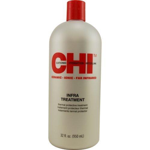 CHI Кондиционер Чи Инфра 946млКондиционеры<br>Кондиционер Чи Инфра предназначен для всех типов волос, особенно для ухода за нормальными волосами, а также склонными к сухости, подвергавшимися осветлению или другим химическим процедурам. Кондиционер восстанавливает баланс влаги и надежно защищает волосы от воздействия тепла. CHI Infra Treatment Conditioner идеально подходит для ежедневного применения, поскольку наличие уникальных компонентов обеспечивает защитное и увлажняющее действие. При каждом применении кондиционер CHI Инфра делает ваши волосы послушными в укладке, шелковистыми, и придает им невероятный естественный блеск и великолепное сияние здоровых и сильных волос. Результат. Кондиционер CHI Infra для ежедневного применения обеспечивает защитное действие, мягкий и сбалансированный уход, восстанавливает баланс влаги, оказывает выраженное восстанавливающее и укрепляющее действие. Придает волосам силу, мягкость и блеск. Активный состав: Деионизованная вода, Минеральное масло, оливковое масло, гидролизованный шелк, гидролизованный кератин волос, кислота из ростков пшеницы, масло из ростков пшеницы. Применение: После мытья нанести кондиционер и равномерно распределить по волосам. Для обычного кондиционирования &amp;ndash; оставить на 2 минуты, для глубокого - обернуть голову полотенцем и оставить на 5 минут.<br><br>Объем: 950<br>Типы волос: Нормальные