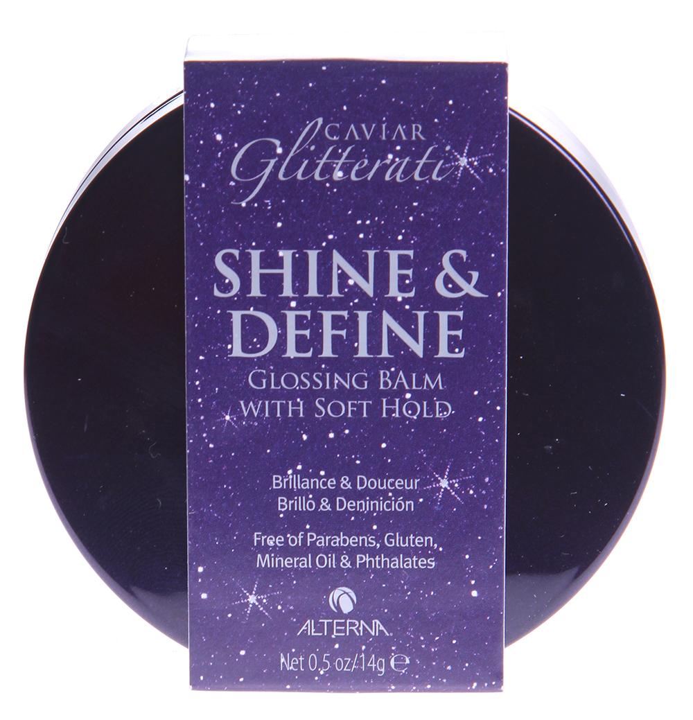 ALTERNA Бальзам для блеска и дефинирования волос 14г~Бальзамы<br>Бальзам для блеска и дефинирования волос с экстрактом черной икры позволяет разделить и выпрямить непослушные пряди, а также придать волосам великолепный бриллиантовый блеск. Подходит для всех типов волос.   Нежный бальзам для блеска и дефинирования Glitterati Shine &amp;amp; Define balm оказывает интенсивное укрепляющее и восстанавливающее действие. Способен проникать глубоко в структуру волос, оказывая питательное и увлажняющее действие на волосы. Бальзам имеет удобную компактную упаковку с зеркальцем. Его легко уместить в любой небольшой дамской сумочке и воспользоваться в любой момент времени. Бальзам содержит высокоэффективную ухаживающую формулу на основе экстракта черной икры, комплекса натуральных ингредиентов и передовых собственных разработок компании Alterna. Экстракт икры богат жирными кислотами и протеинами, незаменимыми для поддержания здоровья волос и стимулирующими выработку кератина.  Экстракты васаби, красных водорослей, зеленого чая, моркови и других растений, а также натуральные масла содержат множество витаминов, антиоксидантов и протеинов, оказывающих интенсивное укрепляющее, восстанавливающее, питательное и увлажняющее действие на волосы. Запатентованный комплекс Color Hold защищает волосы от потери цвета и УФ облучения. Комплекс Age Control предотвращает появление возрастных изменений. Комплекс Enzymtherapy содержит ферменты, способствующие усвоению полезных веществ и проникновению их глубоко в структуру волоса. Бальзам для блеска и дефинирования Alterna не содержит фталатов, парабенов и минеральных масел. Благодаря этому он подходит для всех типов волос и не вызывает аллергии. В результате применения бальзама для блеска и дефинирования Glitterati Shine &amp;amp; Define balm волосы становятся более гладкими, блестящими и здоровыми. Непослушные пряди больше не путаются и становятся идеально выпрямленными и разделенными.  Активные ингредиенты: Комплексы Color Hold, Age Control, En