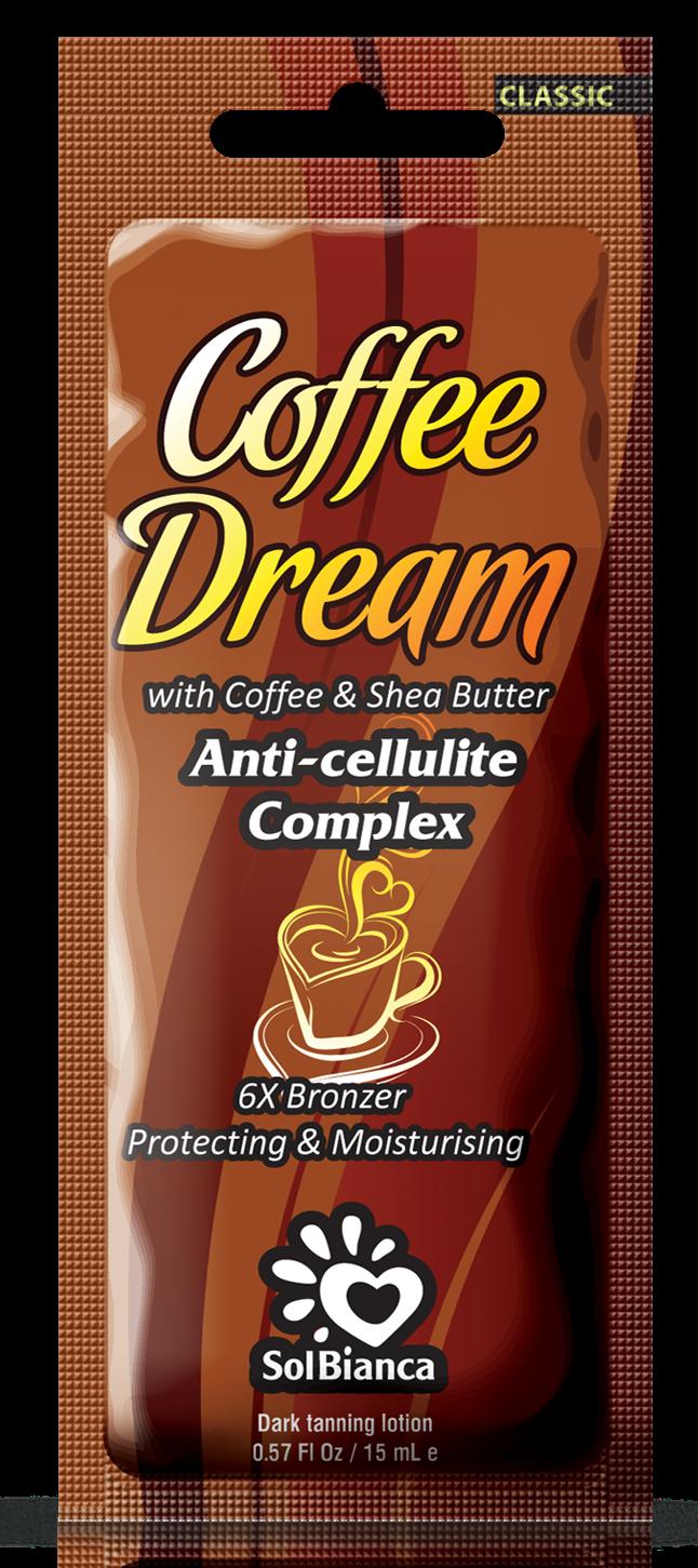 SOLBIANCA Крем для загара в солярии  Coffee Dream  с маслом кофе, маслом Ши / CLASSIC COLLECTION 15 млКремы<br>Роскошный крем с маслом кофе и маслом ши, предназначен для получения стойкого и насыщенного оттенка загара, а также обладает превосходным разглаживающим эффектом и антицеллюлитным воздействием. Темный загар и упругая кожа! Активные ингредиенты: маслом кофе и маслом ши. Состав: (INCI) Aqua, Cetearyl Alcohol, Glycerin, Propylene Glycol, Paraffinum Liquidum, Isopropyl Palmitate, Hydrogenated Palm Oil, Dihydroxyacetone, Dimethicone, Stearyl Alcohol, Ceteareth   6, PEG   100 Stearate, PEG   7 Glyceryl Cocoate, Cyclomethicone, Aloe Barbadensis Extract, Mannan, Pinus Sibirica Seed Oil, Phenoxyethanol, Methylparaben (and) Ethylparaben (and) Propylparaben, Glyceryl Stearate, Ceteareth   20, Ceteareth   12, Cetyl Palmitate,Coffea Arabica Seed Oil, Butyrospermum Parkii Oil, Panthenol, Persea Gratissima Oil, PEG   40 Hydrogenated Castor Oil, Сoffea Arabica, Hippophae Rhamnoides Extract, Lactic Acid, Methylchloroisothiazolinone, Methylisothiazolinone, Parfume, Caramel, CI 20285, CI 15980, Benzyl Benzoate, Coumarin. Способ применения: аккуратными массажными движениями равномерно распределить содержимое по сухой чистой коже. Аккуратно втереть.<br><br>Назначение: Целлюлит