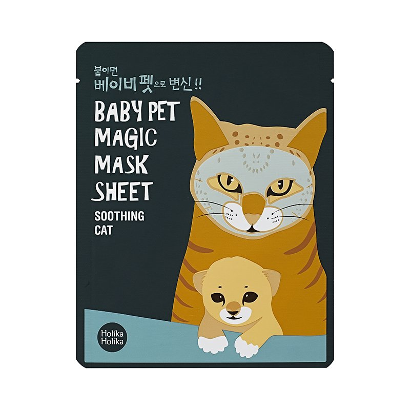 HOLIKA HOLIKA Маска-мордочка тканевая успокаивающая (кошка) Бэби Пэт Мэджик / Baby Pet Magic Mask Sheet Soothing Cat 22мл пудра essence all about matt fixing compact powder цвет transparent variant hex name e8e7e4