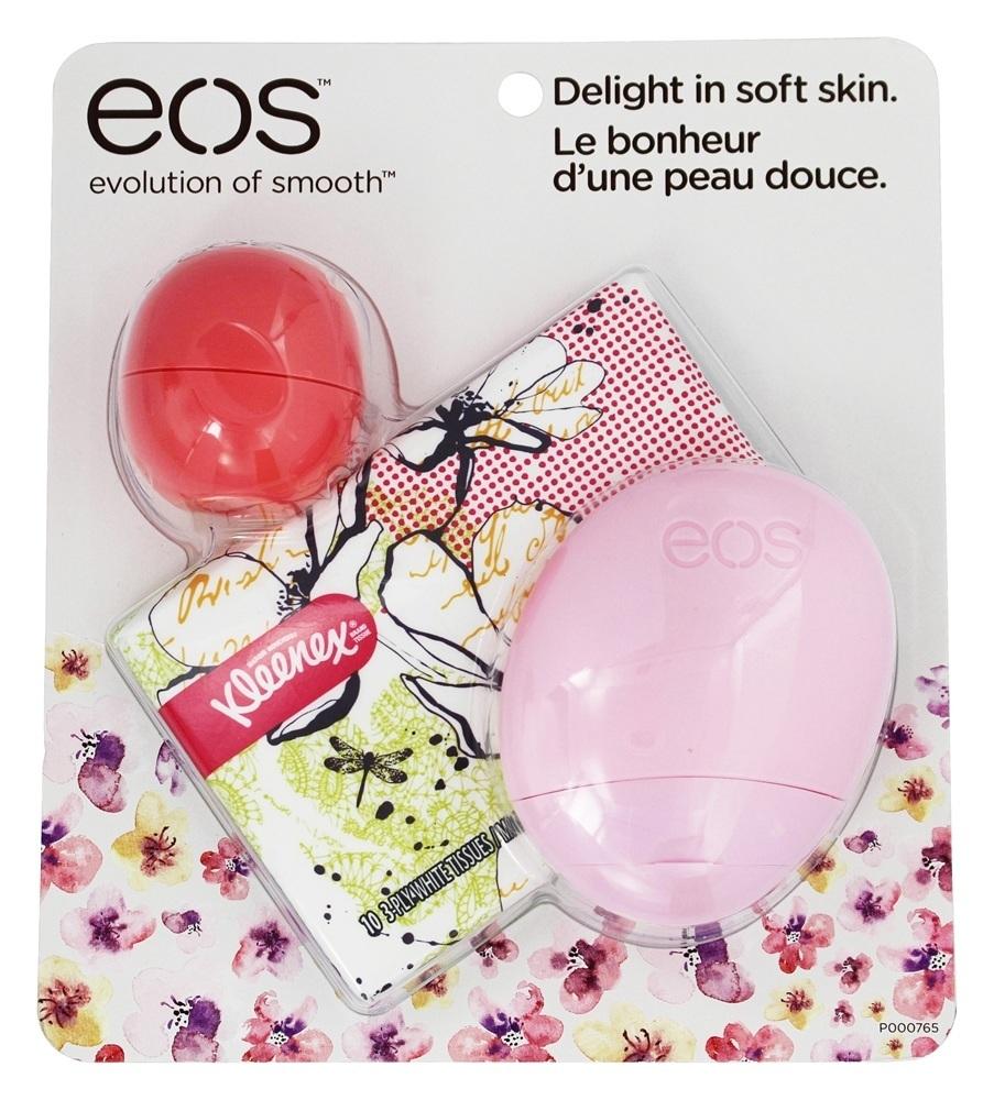 EOS Набор Бальзам для губ и Лосьон для рук / EOS Kleenex 2016 Spring Lip Balm PackЛосьоны<br>В набор входят: EOS Бальзам для губ Розовый Грейпфрут 7гр EOS Лосьон для рук Ягодный 44МЛ KLEENEX Косметичка 100% натуральный бальзам для губ. Рецептура на основе органических компонентов проверена и запатентована в институте Organic в Орегоне. Ваши губы всегда будут влажными, мягкими и гладкими. Ультраувлажняющая формула обеспечивает идеальный баланс вкуса и влаги. Обладает сильными противовоспалительными и антибактериальными свойствами. Защита SPF 15. Бальзам упакован в симпатичную овальную сферу с крышкой, что делает его использование особо привлекательным как для детей , так и для взрослых. EOS Hand Lotion Быстровпитывающийся лосьон для рук 24-ч увлажнения 44мл Лосьон для рук EOS натуральный на 97%, его оригинальная эргономичная упаковка специально разработана для того, чтобы его было удобно носить в сумочке или кармане. Содержит увлажняющее масло ши (каритэ), масло макадамии, сок алоэ вера, экстракт овсяных хлопьев и большое количество антиоксидантов и витаминов С и Е. Легкий, быстро впитывается, нежирный. Гипоаллергенный. Мобильный, отличная вещь в вашей сумочке. Он надолго увлажнит кожу ваших рук, сделает ее эластичной, мягкой, гладкой, сияющей и здоровой! Лосьон является гипоаллергенным и быстро впитывается. Подходит для кожи любого типа.<br><br>Защита от солнца: None<br>Время применения: 24 часа