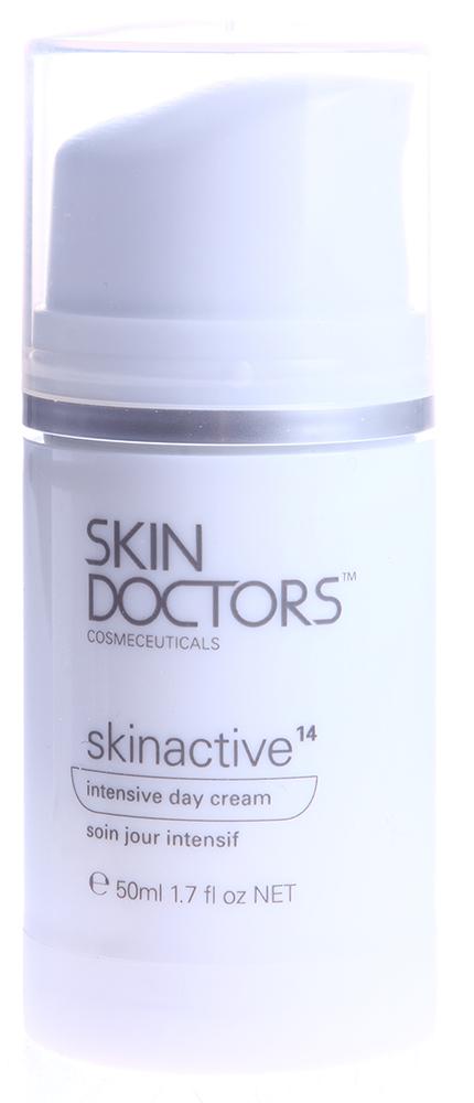 SKIN DOCTORS Крем интенсивный дневной / Skinactive14  Intensive Day Cream 50млКремы<br>Интенсивный дневной крем Skinactive 14 TM &amp;ndash; больше чем просто увлажнение. Благодаря специально разработанной формуле он помогает защищать Вашу кожу, предупреждать появление и бороться с 14-ю распространенными проблемами кожи, связанными со стрессами, старением и обезвоживанием кожи. Skinactive 14 содержит концентрат из 5-и косметических активных компонентов, которые обеспечат Вашу кожу всем необходимым всего за одно применение. Результат   интенсивное питание, замедление старения и заметное омоложение Вашей кожи.  Глубоко увлажняет, разглаживает кожу, улучшая ее структуру. Предотвращает образование мимических морщин.        Борется с глубокими морщинами, сокращает их количество и препятствует образованию.  Уплотняет тонкую и просвечивающуюся кожу. Уплотняет эпидермис, питает кожу, предотвращает обвисание.        Возвращает коже свежий вид, придает ей сияние, выравнивает тон кожи. Убирает веснушки.             Сужает поры, сокращает покраснения и пятна на коже. Защищает от ультрафиолетового излучения.         Активные ингредиенты: Renovage   инновационный комплекс, который способен перевести назад клеточные биологические часы, т.к. превосходно увлажняет и обеспечивает защиту продолжительности жизни клеток (теломеров). ExoT   поддерживает баланс между обновлением и естественным отшелушиванием отмерших клеток, способствует процессу непрерывной регенерации кожи и защищает коллагеновую сетку. Aquaxyl   ксилит и глюкоза. Увлажняет, увеличивая запасы влаги в коже и улучшая ее защитные функции. SPF15 - фильтры UVA и UVB для защиты от солнечных лучей и разрушительного действия свободных радикалов.<br><br>Назначение: Морщины<br>Время применения: Дневной