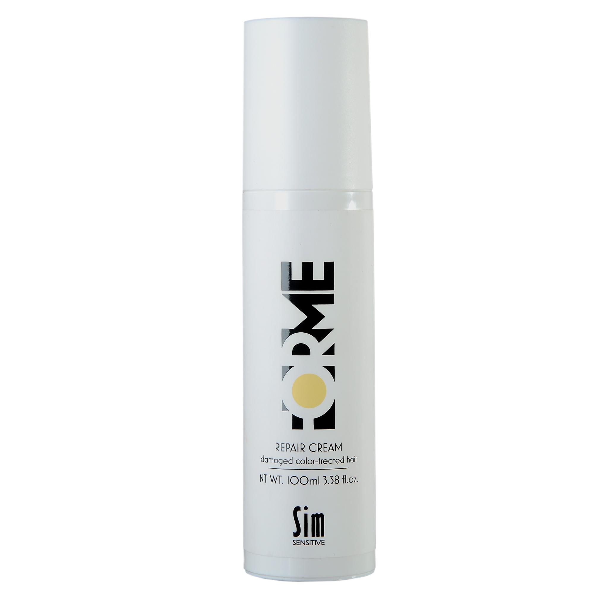 SIM SENSITIVE Крем для волос / Repair Cream FORME 100млКремы<br>Крем для волос Forme Repair   гармоничное дополнение к шампуню, кондиционеру и маске для волос Forme Repair. Крем наносится вымытые волосы с акцентом на концы. Крем содержит масло семян облепихи, которое усиливает действие уходов Forme, подпитывает секущиеся концы и препятствует их дальнейшему расслоению. Крем подходит также как подготовительный этап к укладке на горячих температурах. Защищает от воздействия ультрафиолета. Масло семян облепихи быстро и глубоко проникает внутрь волоса, смягчает и укрепляетего внутри и снаружи. Идеальное средство против секущихся кончиков и ломкости волос. Основной действующий компонент Forme Repair   масло из мякоти и семян облепихи. Масло содержит полезные кислоты омега-9, которые легко проникают в кожу головы и структуру волоса, насыщая их витаминами, а также редкие кислоты омега-7, в частности пальмитолеиновую кислоту. Пальмитолеиновая кислота незаменима для волос, так как входит в состав кожного сала человека. Средства Forme с экстрактом облепихи восполняют недостаток этой кислоты, что препятствует выпадению волос и оказывает противогрибковое действие, придают блеск и укрепляют здоровье. Уходы Forme можно использовать как в комплексе для достижения максимального эффекта, так и по отдельности. Активный ингредиент:&amp;nbsp;масло семян облепихи. Способ применения: нанесите небольшое количество крема на высушенные полотенцем волосы. НЕ СМЫВАЙТЕ. Далее высушите волосы как обычно.<br>