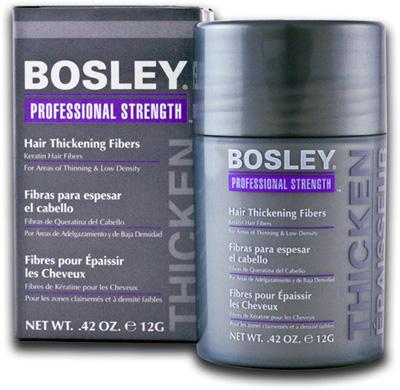 BOSLEY Волокна кератиновые средне-коричневые 12гр~Особые средства<br>Bosley Hair Thickening Fibers Кератиновые волокна. Никогда ещё не было возможности так просто скрыть участки с низкой плотностью волос или алопецию. Инновационное средство от американского бренда   компании Bosley эффективно и моментально поможет Вам избавиться от проблемы редких волос. Благодаря новейшей технологии, которая основан на таком ключевом компоненте   как кератине   кератиновые волокна очень плотно прилегают к волосам, визуально увеличивая их густоту и объём, обеспечивая Вашим волосам мгновенное и восхитительное преображение. Кератиновые волокна идеально подходят для ежедневного применения   как для женщин, так и для мужчин. Средство не вызывает раздражения, зуда и является абсолютно безвредным. Способ применения: перед непосредственным применением флакон со средством необходимо несколько раз тщательно встряхнуть, а затем кератиновые волокна следует нанести на участки кожи головы с пониженной плотностью волос при помощи пальцев в перчатках или расчёской. Следует заметить, что перед проведением процедуры волосы должны быть сухими и чистыми. После завершения процесса волосы нужно тщательно промыть тёплой водой и, по возможности, вымыть шампунем.<br><br>Цвет: Средне-коричневый