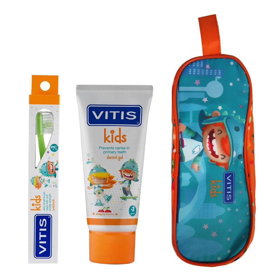 DENTAID Набор детский в мягком пенале (зубная паста 50 мл, зубная щетка очень мягкая) Kids Kit