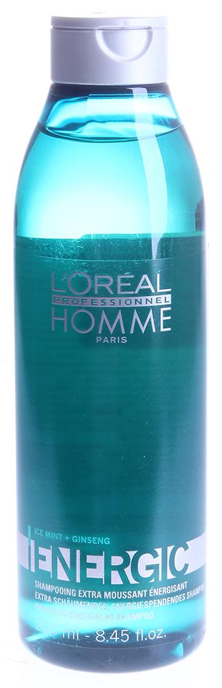 LOREAL PROFESSIONNEL Шампунь Энерджик / HOMME 250млВолосы<br>Бодрящий шампунь представлен в новом сегменте ухода за волосами мужчин, для которых проблема выпадения волос одна их первостепенных. Наполнит волосы жизненной энергией, хорошо освежит кожу, придаст бодрости. Это великолепное средство для получения удовольствия. Может использоваться в салоне красоты  и дома, придаст свежести, поможет быстро, всего за 5 минут взбодриться и получить заряд энергии.Шампунь Энерджик является прекрасным профилактическим средством от выпадения волос, стимулирующий корни волос к более интенсивному росту, хорошо укрепляющий их и придающий волосам намного больше энергии. Шампунь способствует питанию волосяных луковиц и позволяет усилить микроциркуляцию крови в коже головы. Активный состав: В основе линии - технология ICE MINT + GINSENG.. Мята, экстракт корня женьшеня, Омега 3, витамин В3. Применение: Нанести небольшое количество шампуня на волосы, вспенить и смыть.<br><br>Объем: 250<br>Пол: Мужской