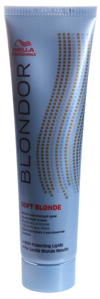 WELLA Крем мягкий для блондирования / Multi Blonde Blondor 200грКремы<br>Персульфаты проникают внутрь волоса и растворяют гранулы меланина. Липиды создают ровную пленку на поверхности волоса. Больше мягкости. Идеален для техник, при которых происходит контакт состава с кожей головы. Более щадящее воздействие на волосы и кожу головы* Липиды обволакивают волос и защищают от потери влаги. Мягкое, но эффективное осветление до 7 ступеней. Рекомендации по смешиванию: Смешать с Welloxon Perfect 6%, 9% или 12% или эмульсией Color Touch 1.9% или 4% в пропорции 1:1 - 1:2 в неметаллической емкости. При контакте с кожей головы используйте Welloxon Perfect 6% как максимально возможный процент перекиси Нанесение и время выдержки: Нанесите осветляющую массу на немытые волосы. Время воздействия зависит от состояния волос. Проверяйте результат каждые 5-10 минут. Максимальное время воздействия 50 минут. При 1-ом окрашивании наносите осветляющую массу от середины длины и на концы, а потом на корни. Последующий уход: Смойте блондирующую массу теплой водой и вымойте волосы шампунем. Нанесите стабилизатор цвета и блеска BLONDOR BLONDE SEAL &amp;amp; CARЕ. *по сравнению с другими блондирующими порошками<br><br>Цвет: Блонд<br>Объем: 200