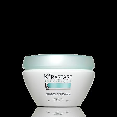 KERASTASE Маска / SENSIDOTE DERMO-CALM 500млМаски<br>Уменьшает чувствительность, успокаивает раздраженную кожу голову, придает волосам мягкость и гладкость. Маска Sensidote Dermo-Calm Masque обогащена мгновенно успокаивающим компонентом Mentha P. (перечная мята). Активные ингредиенты:   Производное ментола: мягко освежает кожу головы.   SALIX N: известна своими успокаивающими свойствами.   ГЛИЦЕРИН: молекула с тройной успокаивающей силой из растительных масел. Она увлажняет, успокаивает и защищает кожу головы от внешних агрессивных воздействий. Способ применения: равномерно нанесите маску на кожу головы, обрабатывая прядь за прядью. Чтобы средство хорошо впиталось, помассируйте голову. Распределите по всей длине волос. Оставьте на 3-5 минут, смойте.<br>