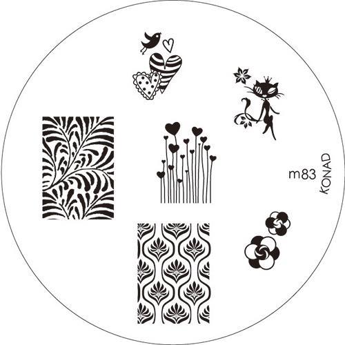 KONAD Форма печатная (диск с рисунками) / image plate M83 10грСтемпинг<br>Диск для стемпинга Конад М83 с сердечками, элегантной кошечкой и великолепными узорами. Несколько видов изображений, с помощью которых вы сможете создать великолепные рисунки на ногтях, которые очень сложно создать вручную. Активные ингредиенты: сталь. Способ применения: нанесите специальный лак&amp;nbsp;на рисунок, снимите излишки скрайпером, перенесите рисунок сначала на штампик, а затем на ноготь и Ваш дизайн готов! Не переставайте удивлять себя и близких красотой и оригинальностью своего маникюра!<br>
