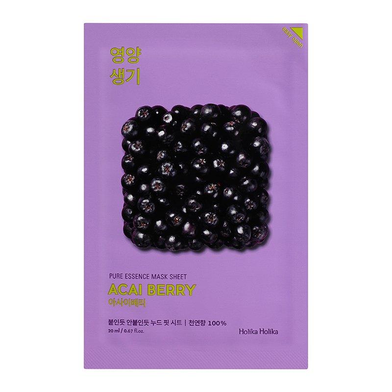 Купить HOLIKA HOLIKA Маска тканевая витаминизирующая Пьюр Эссенс, ягоды асаи / Pure Essence Mask Sheet Acai Berry 20 мл