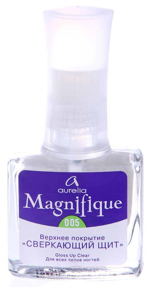 AURELIA 005 покрытие верхнее Сверкающий щит / MAGNIFIQUE 9млВерхние покрытия<br>Верхнее покрытие с винолом &amp;laquo;СВЕРКАЮЩИЙ ЩИТ&amp;raquo;, для всех типов ногтей, создает на ногтях плотную блестящую пленку, защищает маникюр от старения, делает ногти более стойкими к механическим повреждениям, придает небывалую насыщенность цвету лака и сверкающий глянец. Может наноситься как сразу после нанесения лака, так и каждые два дня для поддержания маникюра в первоначальном &amp;laquo;блестящем&amp;raquo; состоянии. Рекомендуется для всех типов ногтей. Способ применения: Наносить на ногти покрытые лаком в 1 слой, рекомендуется повторное &amp;ndash; через 2 дня нанесение также в 1 слой &amp;ndash; для поддержания первоначального вида маникюра.<br><br>Типы ногтей: Нормальные