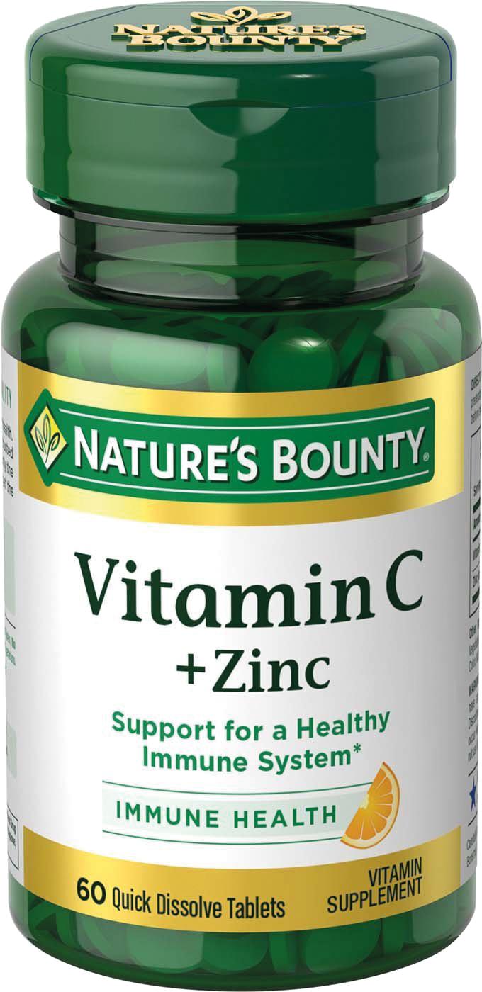 NATURES BOUNTY Витамин С плюс цинк, таблетки растворимые 750 мг № 60