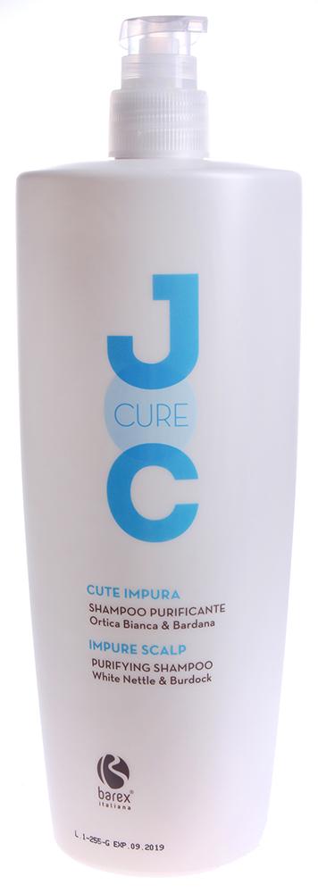 BAREX Шампунь очищающий с экстрактом Белой крапивы / JOC CURE 1000млШампуни<br>Оказывает смягчающее и очищающее поры действие, не нарушая pH кожи. Восстанавливает естественный баланс кожи головы, придает волосам чистоту, мягкость и сияние. Крапива белая: эффективно регулирует секрецию сальных желез и обладает восстанавливающими свойствами. Лопух: оказывает лечебное действие, эффективно удаляет загрязнения. Активные ингредиенты: крапива белая, лопух, кондиционирующие ПАВ, экстракт конского каштана, биотин. Способ применения: нанести шампунь на влажные волосы и кожу головы легкими массажными движениями до образования пены, оставить на несколько минут, затем смыть водой.<br><br>Вид средства для волос: Очищающий<br>Типы волос: Для всех типов