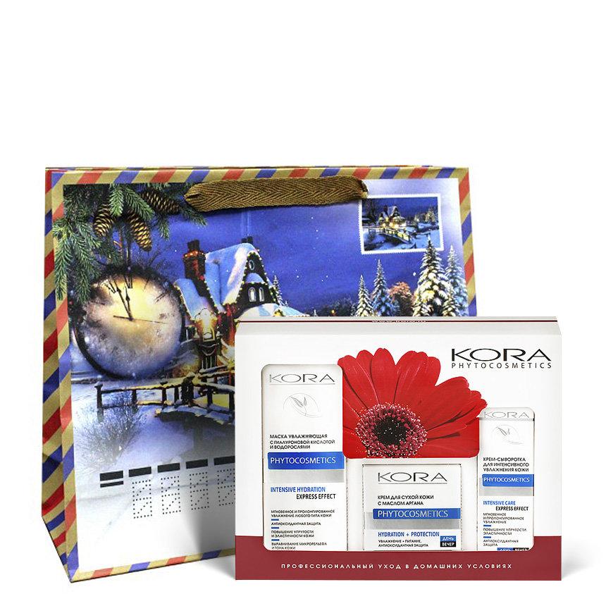 KORA Набор для лица Интенсивное увлажнение и защита (маска увлажняющая 100 мл, крем 50 мл, крем-сыворотка 30 мл) крем kora крем для сухой кожи