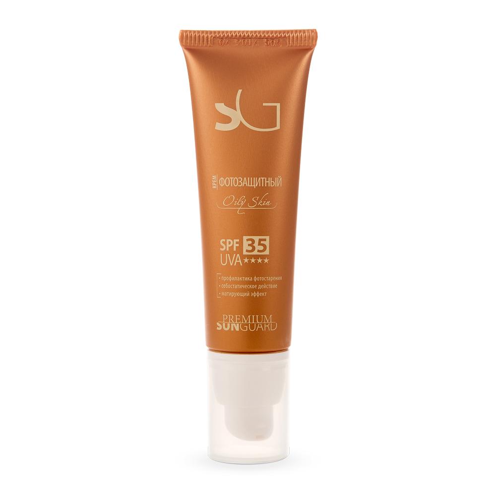 PREMIUM Крем фотозащитный Oily Skin SPF35 / Sunguard 50млКремы<br>Легкая эмульсия учитывает особенности жирной кожи: &amp;nbsp; обладает себостатическим и противовоспалительным действиями;&amp;nbsp; некомедогенна, не оставляет жирной пленки; &amp;nbsp; сохраняет матовость кожи в течение 6 часов; &amp;nbsp; обладает антиоксидантным действием; &amp;nbsp; предохраняет от ожогов и фотостарения, различного рода гиперпигментаций и телеангиоэктазий;&amp;nbsp; Подходит для регулярного использования. Эффективна для защиты кожи после косметических и косметологических процедур в период низкой и средней солнечной активности. Активные ингредиенты: UVA и UVB-фильтры, витамины А, Е, масло соевое, цинка пирролидонкарбоксилат, экстракты подорожника, череды. Способ применения: при различных кожных заболеваниях, приеме фотосенсибилизирующих лекарств, противопоказаниях к УФ-лучам, при 1-м и частично 2-ом типе кожи с высоким содержанием феомеланина, а также после косметологических процедур. Равномерно нанести крем на лицо за 15 минут до выхода на улицу.<br><br>Типы кожи: Жирная
