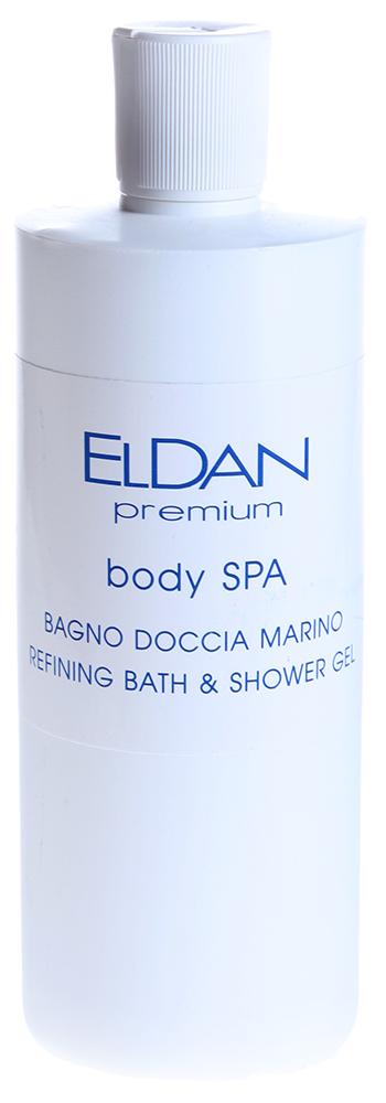 ELDAN Гель для душа и ванны / PREMIUM BODY SPA 500млГели<br>Тип кожи: чувствительная, для всех типов кожи Действие: Гель является хорошей профилактикой целлюлита. Подготавливает кожу для более эффективного использования других продуктов SPA. Гель улучшает жировой обмен в тканях, способствует удалению токсинов, оказывает тонизирующее и смягчающее действие на кожу, повышает защитные функции эпидермиса, активизирует иммунитет кожи, снимает воспалительные процессы, оказывает успокаивающее действие на кожу, снимает напряжение, придает ощущение свежести и легкости, положительно влияет на капилляры, обладает осветляющим действием. После применения геля кожа становится ровной, гладкой, бархатистой. Активные ингредиенты: Экстракт фикуса, экстракт центеллы, экстракт семян гуараны,масло луговой мяты, кофеин, масло шалфея, эвкалиптовое масло, коэнзим А. Способ применения: Гель используется для душа и ванны (принимать ванну не менее 10 мин., max t = 37&amp;deg;C. Используется в процедурах: Premium Body Spa - профилактика целлюлита и релаксация Уход Антистресс для ног<br><br>Назначение: Целлюлит