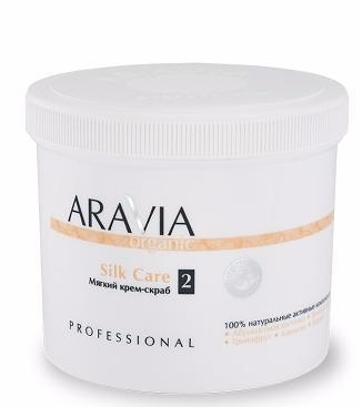 ARAVIA Мягкий крем-скраб  Silk Care  / ARAVIA Organic 550 млСкрабы<br>Благодаря цитрусовым экстрактам, входящим в состав, крем-скраб эффективно борится с целлюлитом. Мягкие гранулы абразива из абрикосовой косточки бережно очищают поры кожи от загрязнения и ороговевших клеток, делая её гладкой и упругой. Средство стимулирует процессы клеточного обновления. Способ применения: нанести на влажную чистую кожу тела, массировать круговыми движениями до 3 минут, смыть остатки теплой водой и салфетками.<br><br>Объем: 550 мл<br>Назначение: Целлюлит