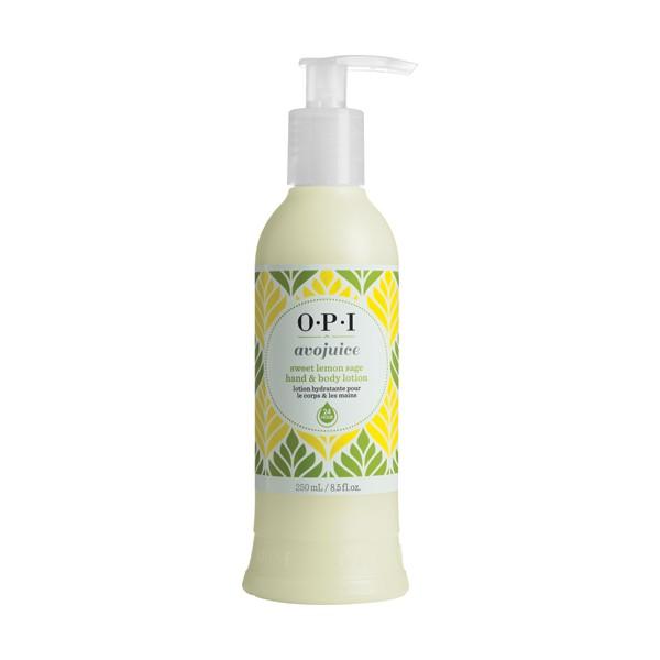 OPI Лосьон для рук Сладкий лимон и шалфей / AVOJUICE 250млЛосьоны<br>Лосьоны Аводжус обеспечат необходимый тонус вашей коже и защиту от токсинов на весь день. Натуральные фруктовые и растительные экстракты мгновенно увлажняют и питают кожу, витамины-антиоксиданты предотвращают ее старение. Формула лосьона быстро абсорбируется поверхностью кожи, делая ее шелковистой и мягкой.<br><br>Назначение: Старение
