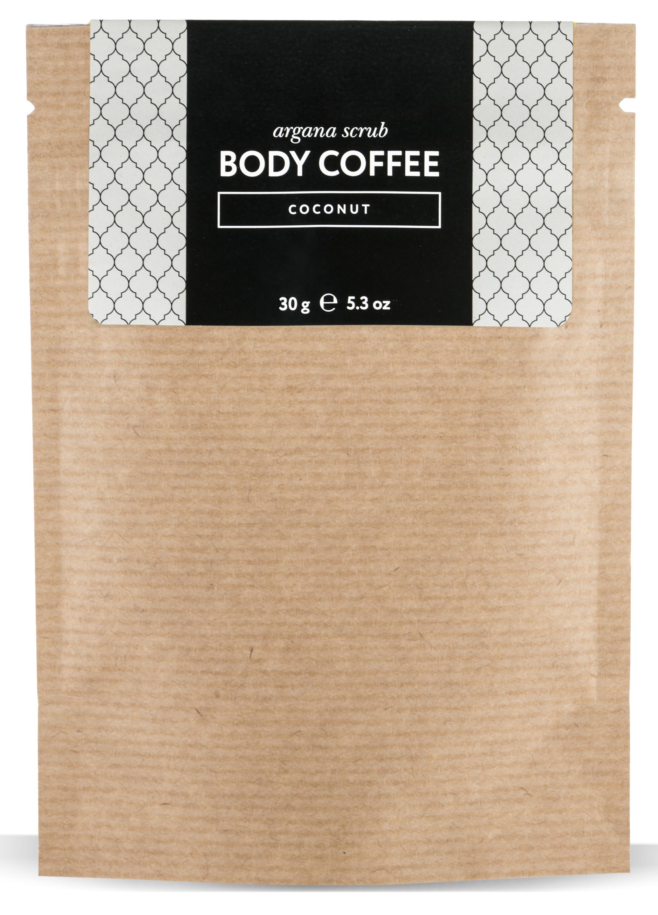 HUILARGAN Скраб аргановый кофейный для тела, кокос 30 г