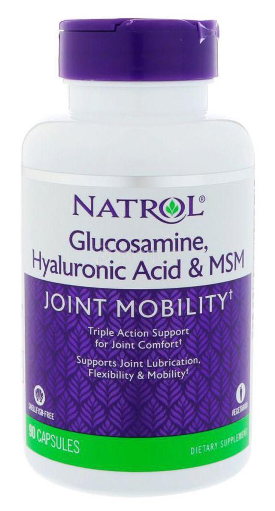 Купить NATROL Добавка биологически активная к пище HYALURONIC ACID MSM &GLUCOSAMINE 90 капсул