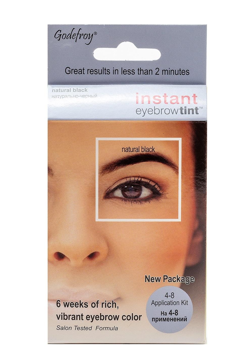 GODEFROY Краска-хна в капсулах для бровей с эффектом татуажа, черный / Eyebrow Tint Natural Black 4 шт