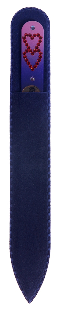 BHM PROFESSIONAL Пилочка стеклянная цветная, сердечки 135 мм - Маникюрные инструменты