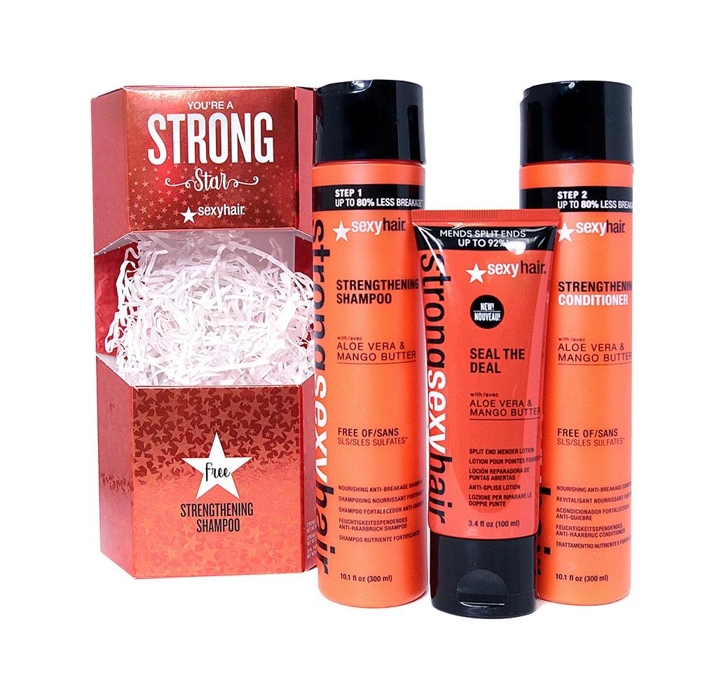 Купить SEXY HAIR Набор для волос Сильное Трио (шампунь 300 мл, кондиционер 300 мл, бальзам 100 мл) SEXY HAIR