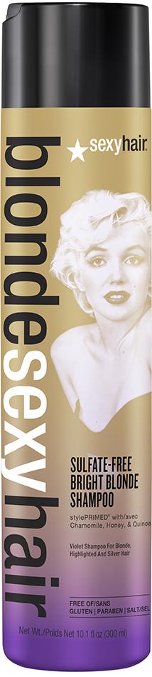 SEXY HAIR Шампунь оттеночный корректирующий Сияющий Блонд без сульфатов/ Sulfate-free bright blonde 50млШампуни<br>Шампунь разработан специально для осветленных, мелированных волос. Средство благодаря фиолетовому пигменту убирает желтизну и медные оттенки. Формула Perfect-Balance Technology увлажняет и восстанавливает структуру волос, придает блеск и сияние. Шампунь не содержит сульфатов, парабенов и солей. Способ применения: нанести шампунь на влажные волосы и вспенить, помассировать и смыть. Рекомендуется использовать в комплексе с кондиционером одной линейки. Активные ингредиенты: комплекс Perfect-Balance Technology, экстракт ромашки, меда и киноа.<br><br>Цвет: Блонд<br>Объем: 50 мл<br>Типы волос: Окрашенные