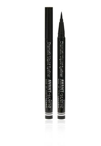 AVANT scene Подводка жидкая для глаз фломастер, черная / Dramatic Liquid Eyeliner 0,6 грПодводки<br>Жидкая ультраустойчивая подводка для подчеркивания контура глаз выпускается в виде фломастера с фетровым наконечником. Продукт идеально подходит для прорисовки четких графичных стрелок. Благодаря особому инновационному составу на основе воды, минерального пигмента, кондиционирующих веществ и современных полимеров подводка имеет насыщенный черный оттенок и обладает свойствами легкого равномерного нанесения, идеальной пластичности и непревзойденной устойчивости даже при применении на азиатском или нависшем веке. Способ применения: для создания классических стрелок, проведите четкие линии вдоль контура глаз, приподнимая и утолщая их на внешних уголках<br>