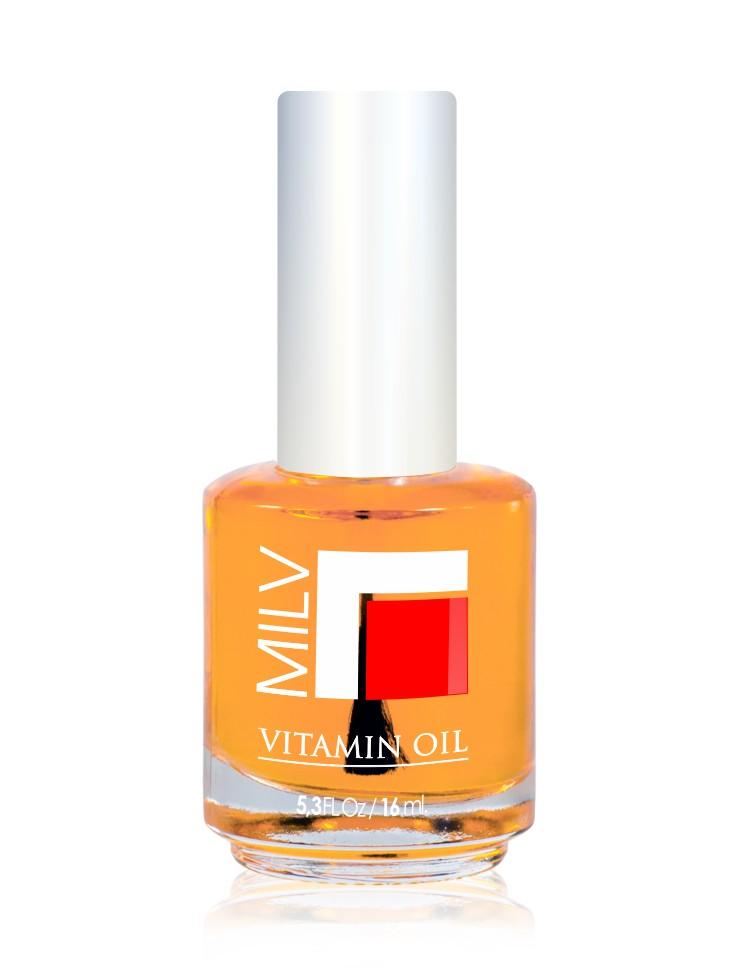 MILV Масло витаминное  Апельсин  / Vitamin Oil 16млОсобые средства<br>Витаминное масло  Апельсин . Продукт специально разработан для сухих, ломких ногтей и поврежденной кутикулы. Масло, которое смягчает, увлажняет, питает, восстанавливает и защищает ногти и кутикулу. Содержит витамины А и Е. Способ применения: нанести капельку масла на зону кутикулы. Массажными движениями втереть в ноготь и область кутикулы. Не смывать!<br>