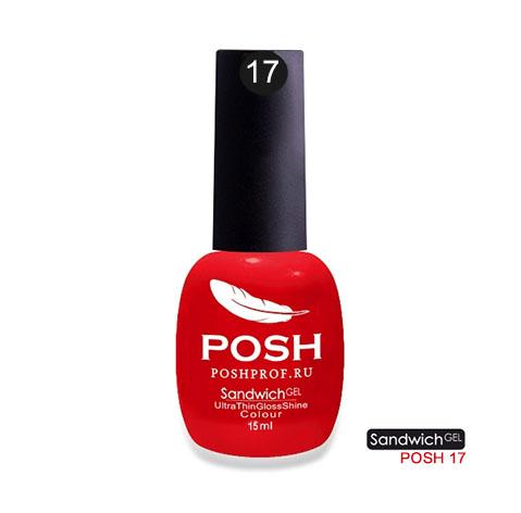 Купить POSH 17 гель-лак на 25 дней Огненный фейерверк / SENDVICH GEL UV/LED 15 мл, Красные