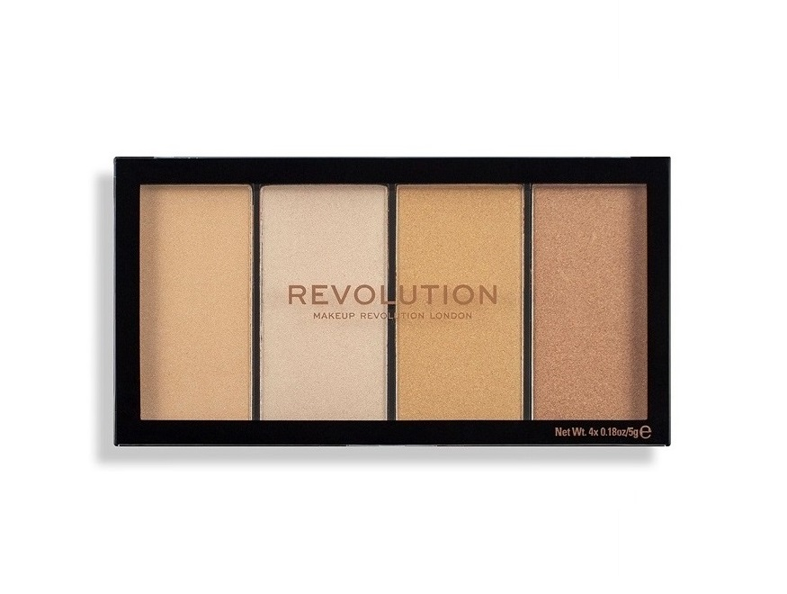 Купить MAKEUP REVOLUTION Хайлайтер для лица в палетке, 4 теплых оттенка / Reloaded Lustre Lights Warm