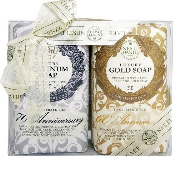 NESTI DANTE Набор мыла для тела (юбилейное золотое + юбилейное платиновое) / Anniversary Platinum & Gold 2*250 г -  Мыла