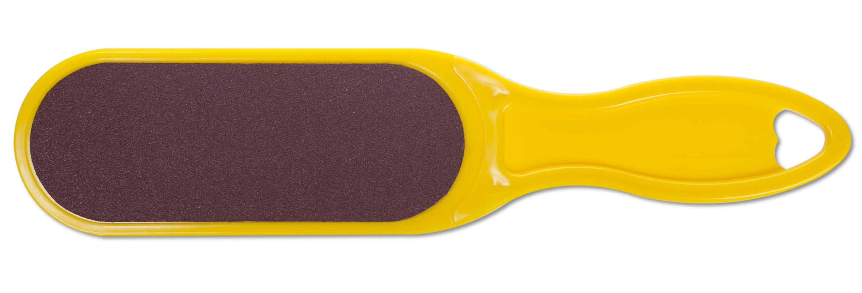 DOMIX Терка абразивная педикюрная двусторонняя с пластиковой ручкой, желтый
