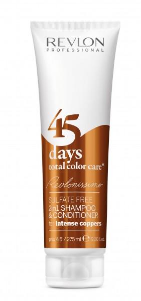 REVLON Шампунь-кондиционер тонирующий для медных оттенков / REVLONISSIMO COLOR CARE 275млКондиционеры<br>Шампунь-кондиционер с очень нежной и мягкой текстурой, не содержащий сульфатов и гарантирующий полное сохранение цвета волос медных оттенков на целых 45 дней. Благодаря провитамину В5 и поликвартениуму-55 придает волосам потрясающую эластичность, отличный блеск и защищает от вредных воздействий ультрафиолетовых лучей. Экстракт клюквы, который является сильным природным антиоксидантом, обеспечивает восстановление структуры волос, благоприятное влияет на кожу головы и устраняет воздействие свободных радикалов. Великолепное средство очищения волос, ухода за ними и поддержания интенсивности цвета волос до следующей процедуры окрашивания. Подходит для ежедневного применения. Активные ингредиенты: поликвартениум-55 - пленкообразующий полимер, экстракт клюквы - мощный природный антиоксидант, провитамин В5. Способ применения: нанести на влажные волосы, помассировать до образования пены, после чего тщательно смыть теплой водой.<br><br>Тип: Шампунь-кондиционер<br>Вид средства для волос: Тонирующий<br>Типы волос: Окрашенные
