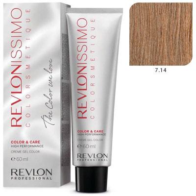 Revlon professional 7.14 краска для волос, блондин пепельно-медный
