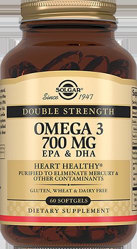 SOLGAR Двойная Омега-3 700 мг ЭПК и ДГК, капсулы № 60