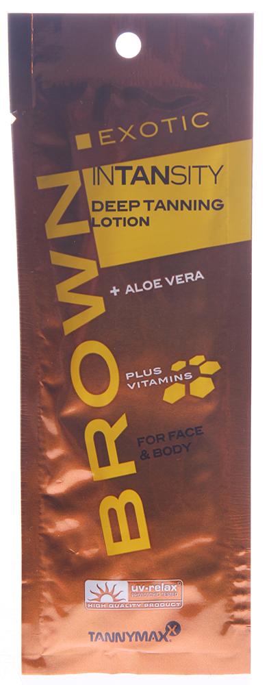 TANNYMAXX Лосьон для загара / Exotic Intansity BROWN 15млЛосьоны<br>Ускорение проявления базового загара. Поддержание оттенка загорелой кожи. Освежает и тонизирует кожу. Увлажняет кожу, способствуя проявлению устойчивого загара. Обеспечивает кожу витаминами и минералами. Препятствует образованию мелких морщин. Активный состав: Меланин, тирозин, натуральный экстракт сахарного тростника, алоэ вера, витамин А, витамин Е, витамин С, масло Ши, экстракт ананаса, экстракт папайи, бисаболол, экстракт магнолии. Применение: Для загара в солярии. Для светлой, не подготовленной кожи. Для лица и тела. Равномерно нанести перед сеансом загара в солярии. Тщательно вымыть/очистить руки после нанесения.<br>