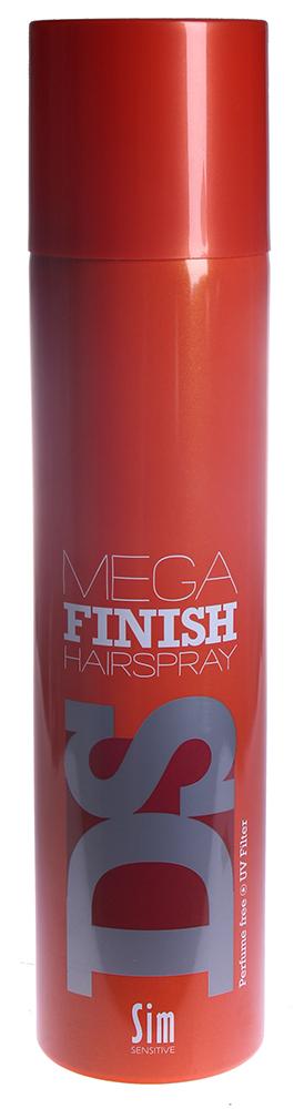 SIM SENSITIVE Лак-аэрозоль Мега Финиш / Mega Finish Hairspray DS 300млЛаки<br>Лак Мега Финиш сильной фиксации. Незаметен на волосах. Не зависимо от жары или влажности, мгновенно фиксирует созданную форму и сохраняет ее на протяжении длительного времени. Обладая сильной фиксацией, лак легко вычесывается. Не содержит парабен и консерванты. Фиксация - 5. Объем - 4. Блеск - 5. Способ применения: уложите волосы в прическу и зафиксируйте лаком с расстояния в 15-20 см.<br>