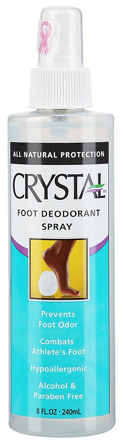 CRYSTAL Дезoдорант для ног 240млДезодоранты<br>Антибактериальный дезодорант-спрей Кристалл. Создан на основе натуральных минеральных солей без цвета и запаха. Предназначен для полной защиты ног от бактерий и неприятного запаха в течение дня. Длительное ношение закрытой обуви, интенсивные спортивные занятия вызывают повышенное выделение пота на стопах и, как следствие, появление неприятного резкого запаха. Проблема не относится к патологии, с ней сталкиваются большинство активных мужчин и женщин, в том числе и подростки. Как же обезопасить себя от неэстетичного запаха и связанного с ним дискомфорта? Оптимальное решение проблемы для всей семьи — купить дезодорант для ног от пота и запаха торговой марки Кристалл объемом 240мл. Активные ингредиенты: очищенная вода, алюмокалиевые квасцы (соли натурального горно-вулканического происхождения с антибактериальным эффектом). Способ применения: нанесите состав дезодоранта на чистую, сухую кожу стоп с помощью пульверизатора на флаконе; используйте ватный тампон, смоченный раствором, для нанесения средства между пальцами; дождитесь полного высыхания средства на коже (5-7 минут). Для усиления антибактериального действия распылите немного спрея для ног от потливости внутри обуви. Теперь неприятный запах не застанет вас внезапно, ваши ноги надежно защищены в течение суток.<br><br>Тип: Дезодорант-спрей<br>Назначение: Запах