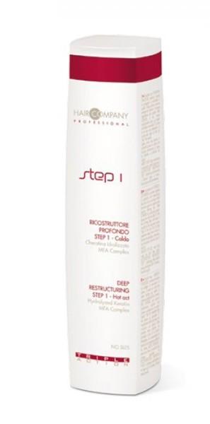 HAIR COMPANY Восстановление глубокое шаг 1 / Deep Restructuring Step 1 Hot Act TRIPLE ACTION 250млЭмульсии<br>Глубокое восстановление ШАГ 1 - Горячий. Первый из трёх шагов процедуры глубокого восстановления, действующего на все слои волос. В состав продукта входят гидролизированный кератин и протеины пшеницы, которые защищают и восстанавливают волосы, обладают антивозрастным действием и замедляют дегенеративный процесс волос. MFA Complex - кондиционирует волосы и придает им блеск и шелковистость. Благодаря теплу, выделяемому при нанесении, этот состав раскрывает кутикулу и проникает вглубь волоса, восстанавливая кортекс волоса. Активные ингредиенты: гидролизированный кератин, протеины пшеницы, MFA Complex.Способ применения: нанести на предварительно вымытые и подсушенные полотенцем волосы, равномерно распределить и оставить на 5 минут. Смыть большим количеством воды.<br><br>Типы волос: Поврежденные<br>Назначение: Секущиеся кончики