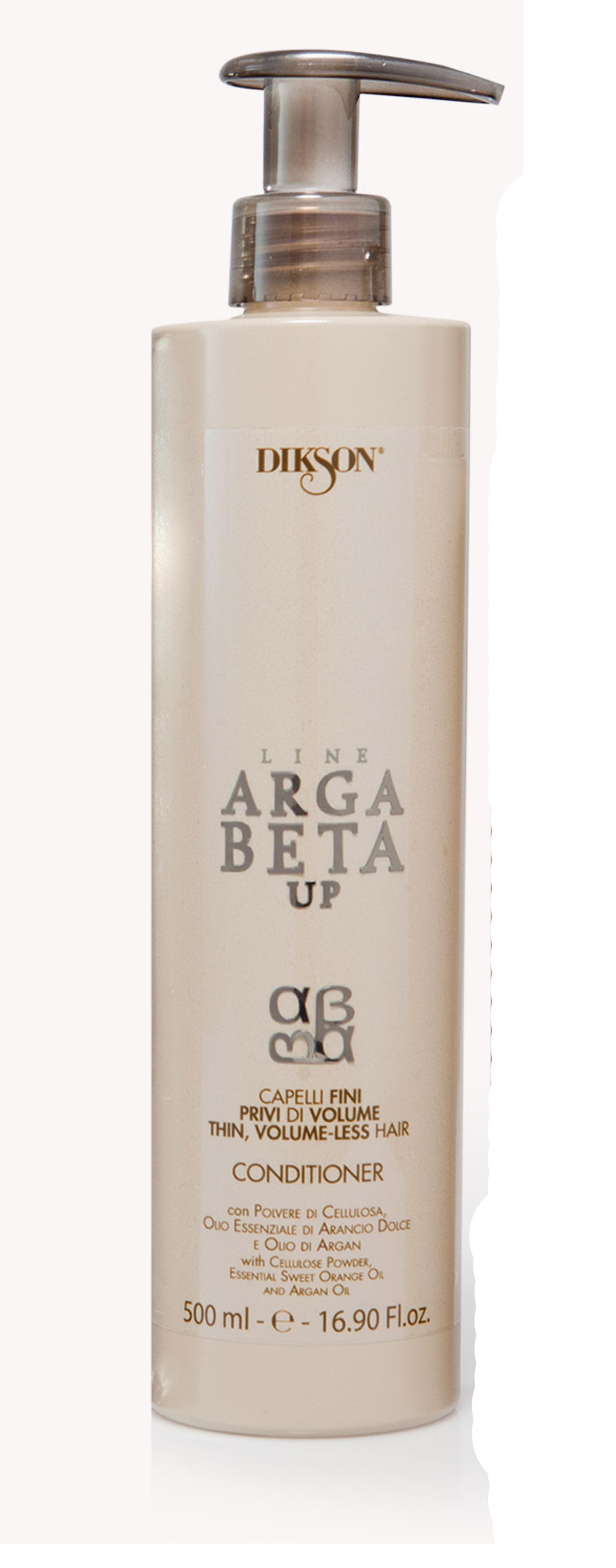DIKSON Кондиционер для тонких волос / ARGABETA UP Capelli Di Volume 500млКондиционеры<br>Кондиционер имеет жидкую кремообразную легкую текстуру. Обеспечивает идеальный уход за тонкими, ломкими и безжизненными волосами, делая их гуще и плотнее, придавая объем. В основе содержит целлюлозный порошок, который при контакте с водой увеличивает объем и плотность волосяного волокна, и фирное масло сладкого Апельсина и Аргановое масло, которые значительно улучшают структуру волос на ощупь и визуально, придавая им красивый блеск. Активные ингредиенты: целлюлозный порошок, эфирное масло сладкого апельсина и масло Арганы. Способ применения: нанести на вымытые волосы, промокнуть полотенцем. Подержать 5/10 минут и ополоснуть водой. Перед сушкой завершить процедуру, используя спрей для придания объема для тонких и лишенных объема волос Argabeta up.<br><br>Тип: Порошок<br>Объем: 500 мл