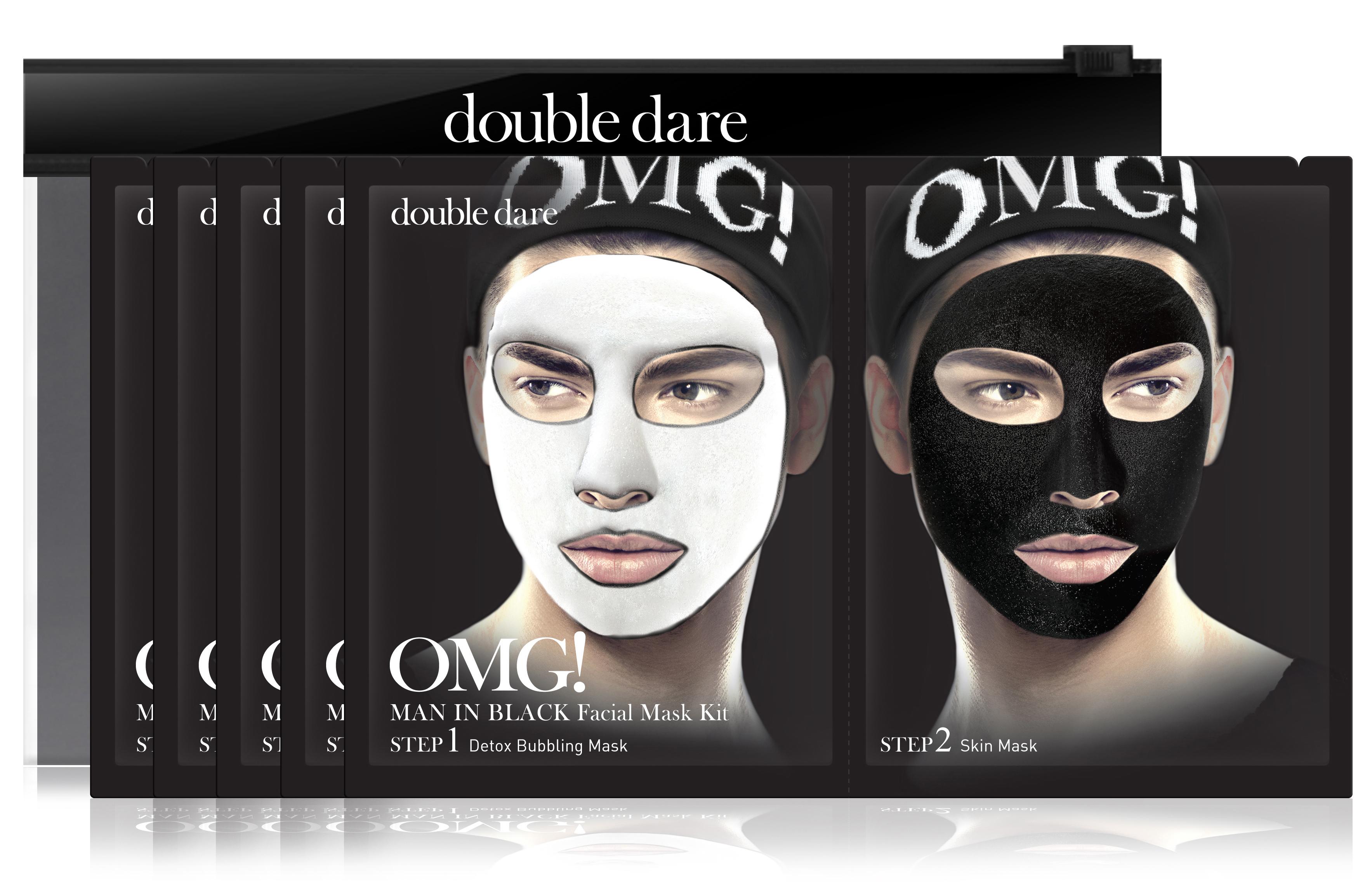 DOUBLE DARE OMG! Комплекс мужских масок двухкомпонентный Детокс / Man in Black 5 шт фото