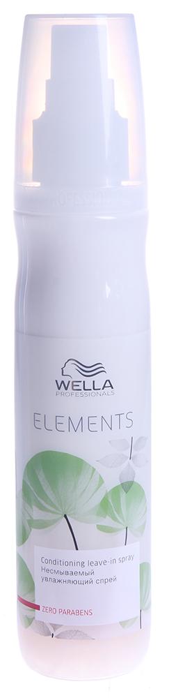 WELLA Спрей увлажняющий несмыв. / ELEMENTS 150млСпреи<br>Новый увлажняющий спрей подходит для ежедневного применения, защищает волосы от вредного воздействия, предотвращает спутывание волос. Продукт не содержит сульфатов, парабенов и искусственных красителей. Спрей содержит натуральный древесный экстракт, который защищает кератиновую структуру волоса. Активные ингредиенты: натуральный древесный экстракт. Способ применения: Встряхнуть флакон. Равномерно нанести на влажные волосы, вымытые шампунем волосы, расчесать. Не смывать.<br><br>Вид средства для волос: Увлажняющий