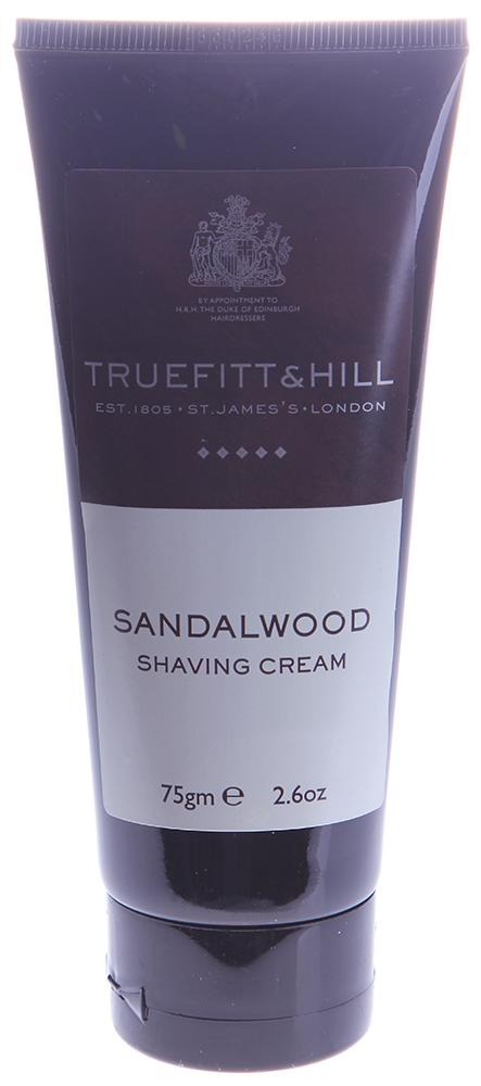 TRUEFITT HILL Крем для бритья (в тюбике) Sandalwood 75грДля бритья<br>Крем для бритья в тюбике Sandalwood Shaving Cream создан на основе глицерина, образует густую пену и способствует идеально гладкому, комфортному бритью. Он придает коже аромат легких нот лимона, лайма и бергамота, которые перекликаются с роскошью сандалового дерева, кедра и мускуса. Активные ингредиенты: Вода, глицерин, парфюмерная композиция.  Способ применения: Нанести крем на область роста волос, приступить к бритью.<br>