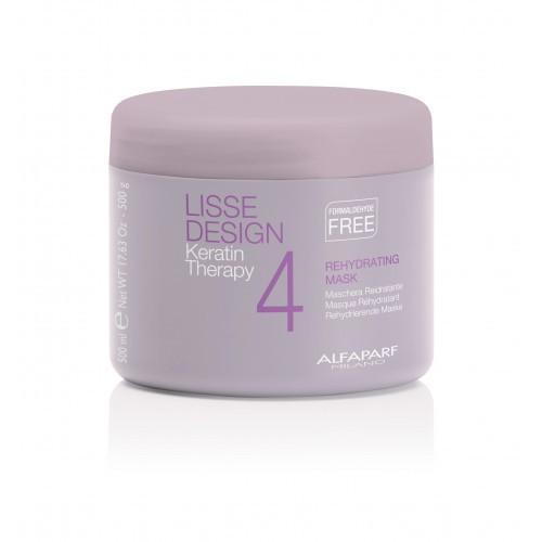 ALFAPARF MILANO Маска кератиновая увлажняющая восстанавливающая для волос / LISSE DESIGN REHYDRATING MASK 500гМаски<br>Увлажняющей маской завершают процедуру кератинового выпрямления волос. Маска увлажняет волосы, предотвращая их сухость, замедляет природные процессы обезвоживания волос. Волосы выглядят блестящими, сияющими и легко расчесываются. Способ применения: нанести на влажные волосы и оставить на 5 минут, затем смыть.<br><br>Объем: 500 мл<br>Вид средства для волос: Восстанавливающий