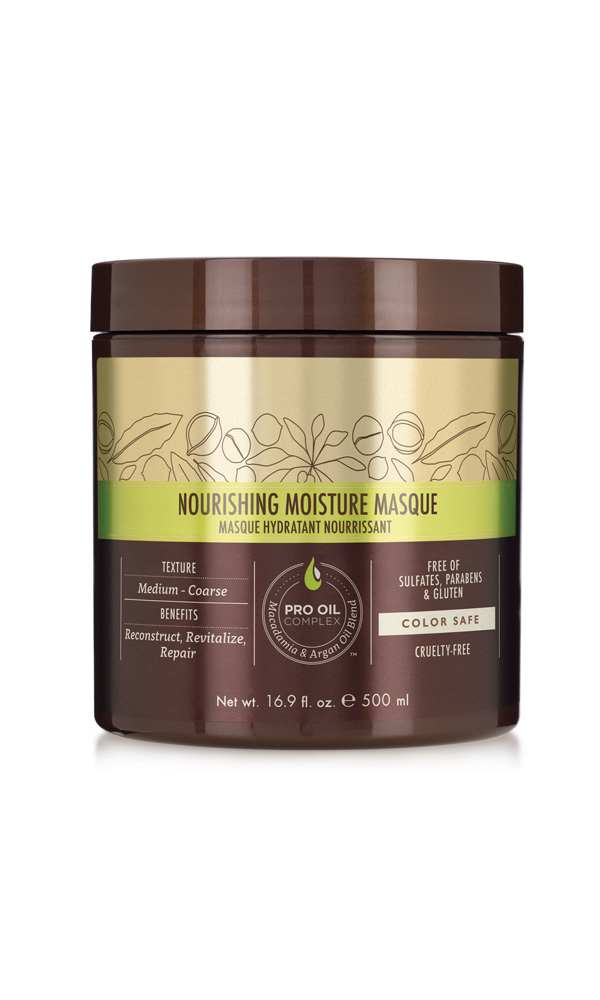 MACADAMIA PROFESSIONAL Маска питательная для всех типов волос / Nourishing Moisture masque 500млМаски<br>Глубокий увлажняющий, восстанавливающий и реконструирующий уход Macadamia Professional для нормальных и сухих волос, c эксклюзивным комплексом PRO OIL COMPLEX. Применение маски делает волосы шелковистыми, облегчает расчесывание, убирает излишнюю пушистость. Добавляет блеск и эластичность. Идеально для сухих, поврежденных, окрашенных волос. С длительным кондиционирующим эффектом. Преимущества: Реконструкция, оживление, восстановление Глубокое увлажнение Облегчение расчесывания, контроль пушистости Сохранение цвета окрашенных волос Без сульфатов, парабенов и глютена Активные ингредиенты: Масло макадамии, Омега 7, 5 и 3 жирные кислоты обеспечивают увлажнение Масло арганы, Омега 9 жирные кислоты восстанавливают и укрепляют Состав: Вода, Глицерин, Цетеариловый спирт, Циклопентасилоксан, Диметикон, Изопропил Пальмитат, Бехинтримониум хлорид, Метил Глюцет-20, Масло макадамии, отдушка, Аргановое масло, Масло грецкого ореха , Масло кокоса, Гидролизованный кератин, Гидролизованный коллаген, Гидроксиэтил целлюлоза, Ацетат Витамина Е, Ретинил пальмитат (витамин А), Бутилированный гидрокситолуол, Лимонная кислота, Изопропиловый спирт, Бутилен Гликоль, Феноксиэтанол, Этилгексилглицерин, Нитрат натрия, Глиоксаль, Сорбат Калия, бензиловый спирт, Бензоат Натрия, Бутилфенил Метилпропионал, бензил салицилат, Гексил Циннамал, Линалоол Способ применения: после применения шампуня нанести по всей длине подсушенных полотенцем волос. Прочесать и оставить для воздействия на 5-10 мин. Использовать 1-2 раза в неделю в зависимости от степени повреждения волос.<br><br>Вид средства для волос: Питательный<br>Типы волос: Для всех типов